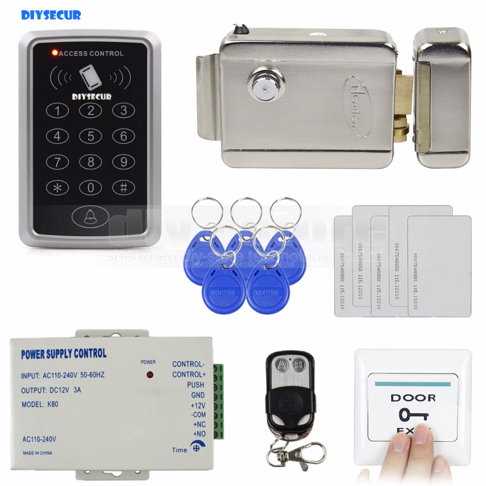 DIYSECUR Télécommande 125 KHz Rfid Système De Contrôle D'accès Complet Kit ensemble + Électronique Serrure De Porte + Alimentation + Sortie bouton