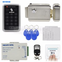 DIYSECUR Remote Control 125KHz Rfid Access Control System Full Kit Set + Electronic Door Lock + Power Supply + Exit Button