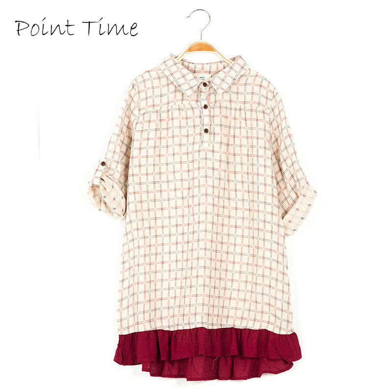 Girls Clothes Cotton Dresses Long Half Sleeve Plaid Shirt Dress Teenager School Costume 2017 Spring Clothing Kids Casual Dress toddlers girls dots deer pleated cotton dress long sleeve dresses