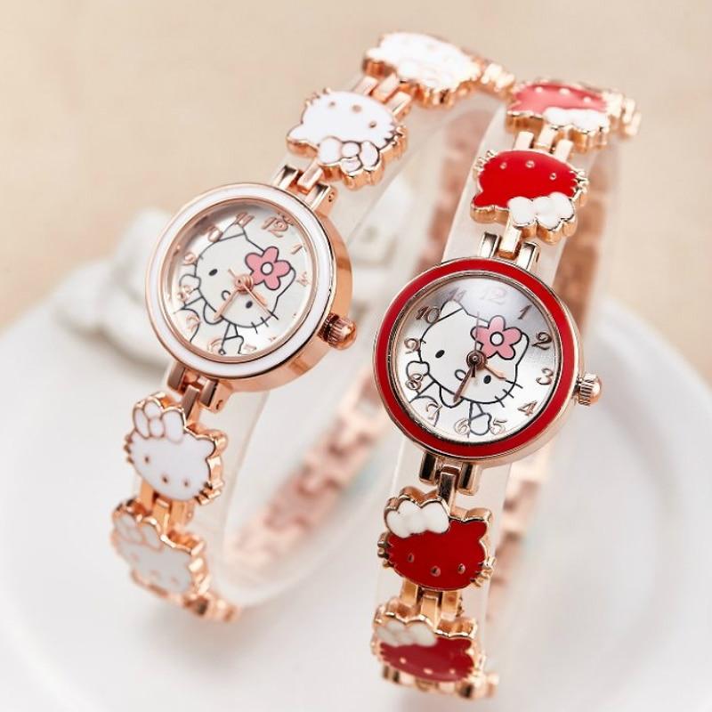 Girls Watches Kids 2019 New Relojes Cartoon Children Watch Pink Cat Watches Fashion Kids Cute Rubber Quartz Watch Girl Gift