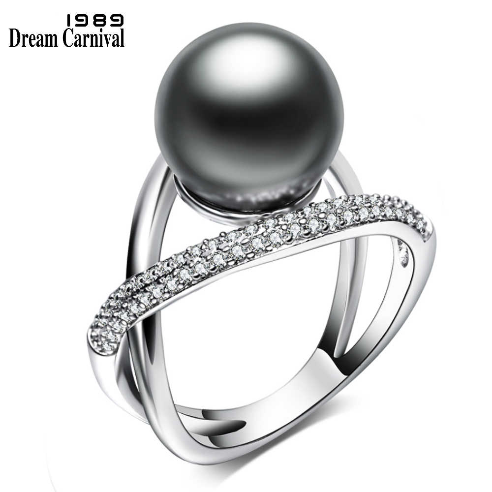 DreamCarnival1989 Cross Design Imitation Grey Pearl Jewelry with White Cubic Zirconia bague Luxury Party Rings for Women WA11567