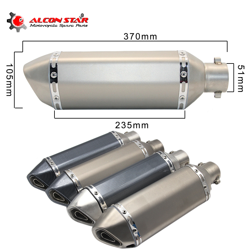 Alconstar- 51mm Akrapovic Exhaust Motorcycle Muffler Escape Moto with DB Killer for Pit Bike CRF 230 MSX125 TMAX 530 GSR 600 CBR modified akrapovic exhaust escape moto silencer 100cc 125cc 150cc gy6 scooter motorcycle cbr jog rsz dirt pit bike accessories