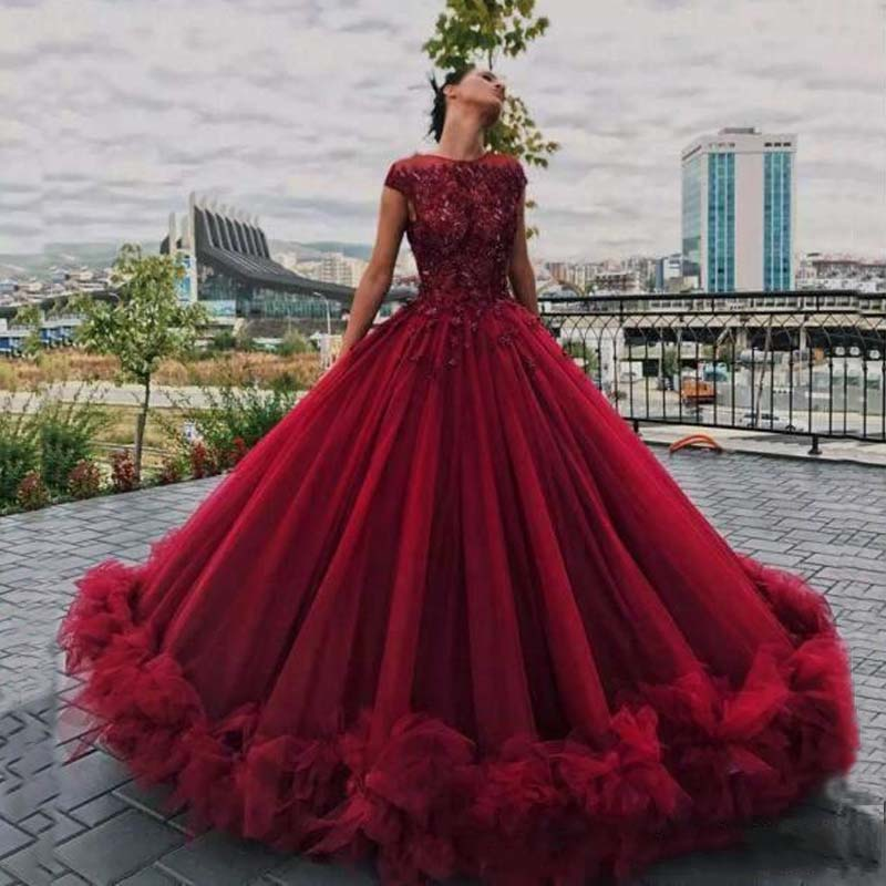 Dark Red Quinceanera Dresses Lace Ball Prom Gown Appliques Ruffled Tulle Sweet Short Sleeve Graceful Evening Gowns Custom Made ...