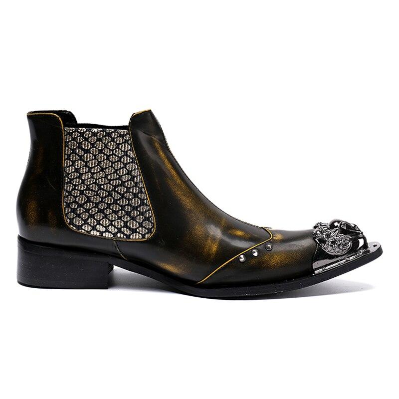 top Mann Chelsea Ankle Größe Herren Vintage Hohe Stiefel High Handgemachte Echtem Gelb Schuhe Leder Sl59 Plus Spitzschuh Qualität Besetzt n6YtZn1q