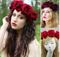 Mulheres Subiu de noiva coroa de Flores Headress Headband Festival Da Flor Do Casamento Garland grinalda da flor Hairband Elástico Acessórios Para o Cabelo