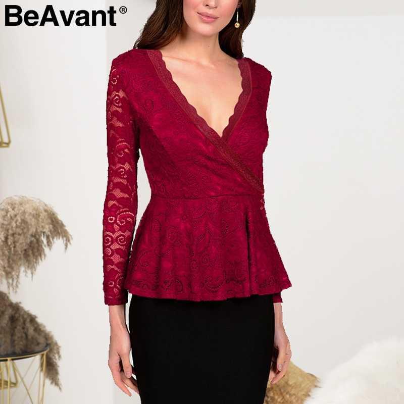 92aac5a5b1aca5 BeAvant Black lace peplum blouse shirt women Elegant autumn sexy blouse  long sleeve Transparent peplum top