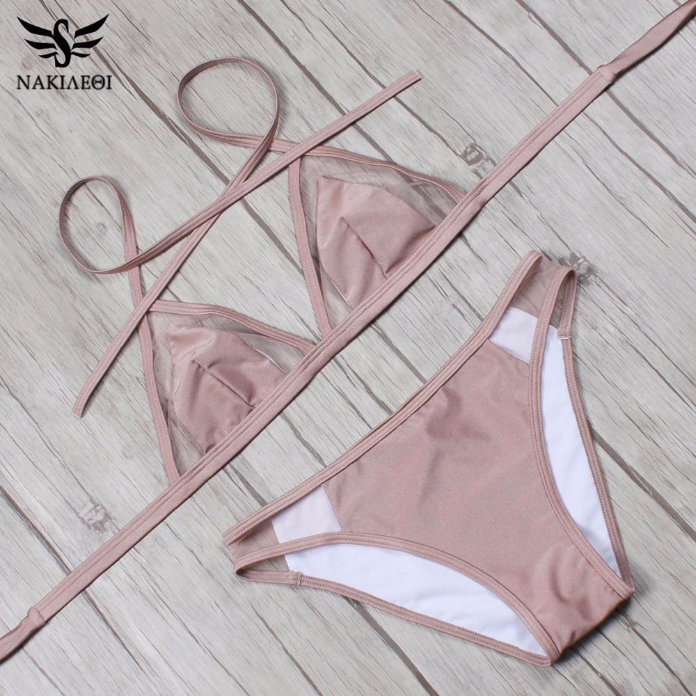 NAKIAEOI 2018 Newest Sexy Mesh Bikini Set Halter Swimwear Women Swimsuit Brazilian Bikini Summer Bathing Suit Swim Wear Biquini 4