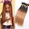 Ombre Human Hair Brazilian Virgin Hair Ombre 4 Bundles Straight T1B/27 Two Tone Brazilian Straight Ombre Hair Weave Bundles Deal