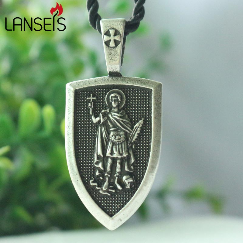 lanseis 1pcs men necklace Santo Expedite me Protect family Saint Shield Protection cross medal pendant saint talisman jewelry