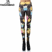 Women Legging 8 Pattern American Cartoon Adventure Time Cute Knitted Women Digital Print Long Leggings Pencil Pants