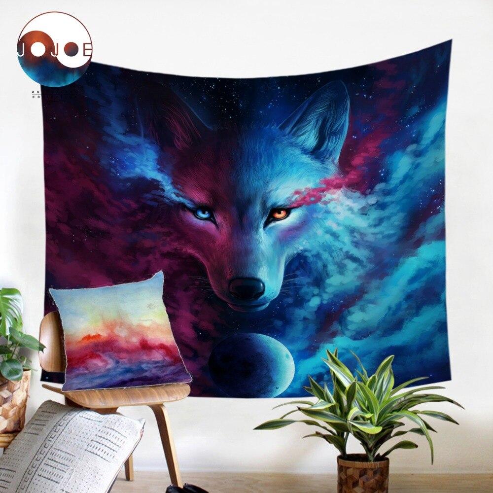 Wo Licht Und Dark Erfüllen durch JoJoesArt Tapisserie Wandbehang Für Erwachsene Kinder Tier Wolf Gedruckt Bettwäsche Dekorative Wandteppich