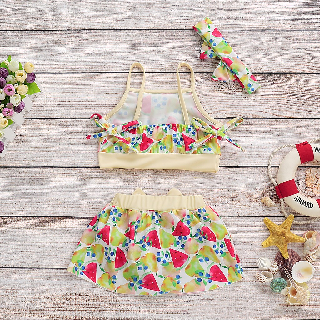 Shorts Swimsuit Set Kids Swimwear For Girls F1 Moderate Price 2019 Szyadeou Summer Kids Kids Girls Print Bikini Beach Sling Swimwear Swimwear