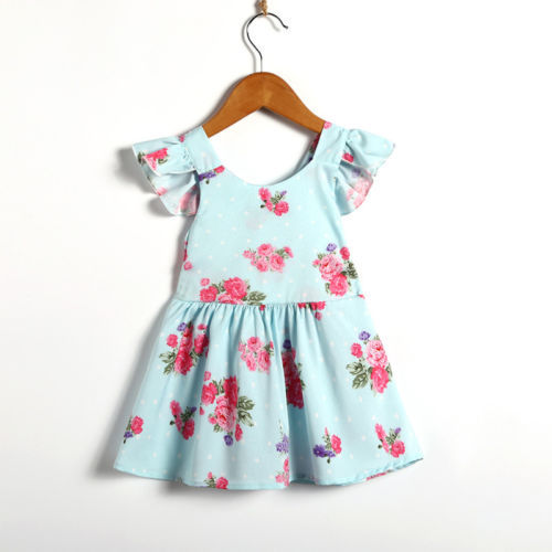 bce2cb51a6ab Newborn Toddler Baby Girls Floral Backless Dress Sleeveless Bow Tutu ...