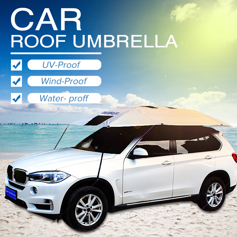 Car Roof Umbrella Sunshade Insulation Cover Outdoor Travel Roof Semi-automatic Umbrella Sun Guard Tent 320x220cm