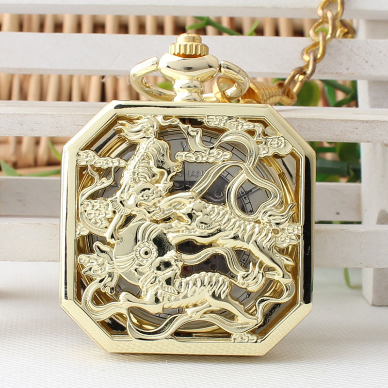 New Gold Kylin Pattern Pocket Watch Roman Scale Manual Winding Mechanical Watch TJX007