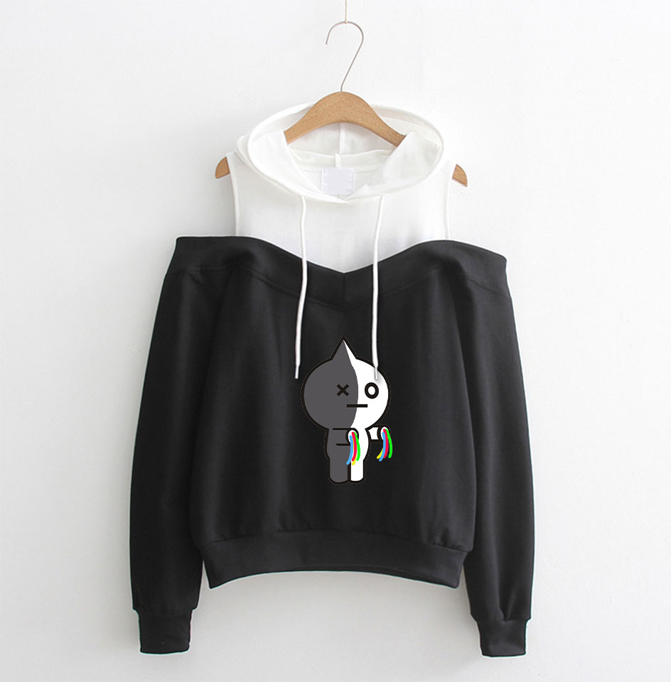 BT21 Cartoon With The Style Of Off-the-shoulder Shirt With Hood Women's Sweatshirt Japanese Style Personality Sweatshirt