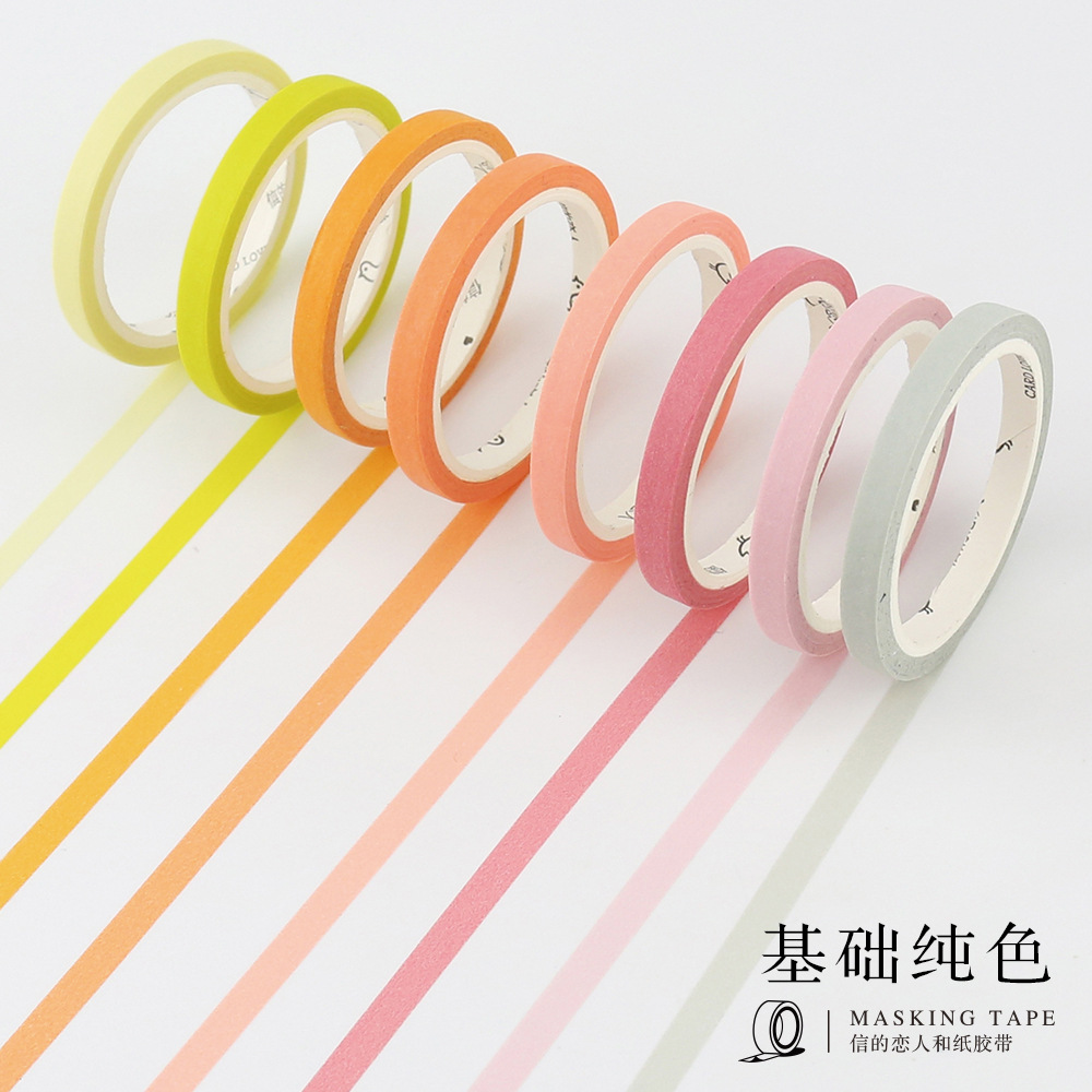 1 Roll Cute Japanese Washi Tap Basic Color Slim Masking Tape DIY Decorative Adhesive Tape Scrapbooking Boarder Diving Lines