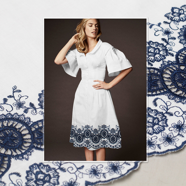 Pearlsilk Chinese Blue and White Porcelain Embroidered Lace 100%cotton Materials Spring Dress DIY clothes fabrics Freeshipping