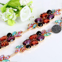 1Yard Colorful Rhinestone Single Crystal Trimming Cup Chain Trim For Wedding Dresses Decoration