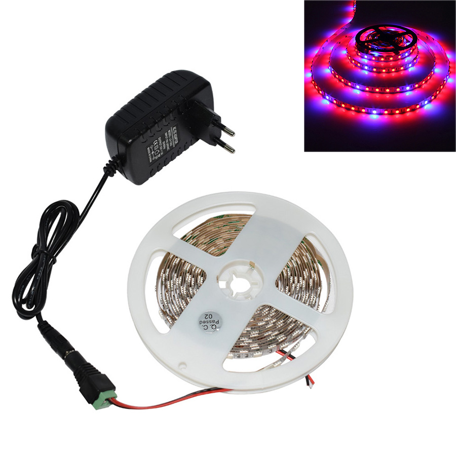 1/2/3/4/5m LED Phyto Grow Light LED Tape For Plants With 2A Power Adapter Indoor Grow Tent Garden Light Flowers Hydroponic Lamp