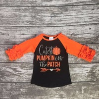 Halloween Baby Girls Cutest Pumpkin In The Patch Boutique Top T Shirts Clothes Black Icing Sleeve