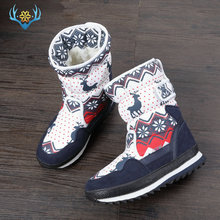 Girls Winter Boots Children snow boot kids new design Christmas shoes warm natural wool fur inside Non slip sole  free shipping