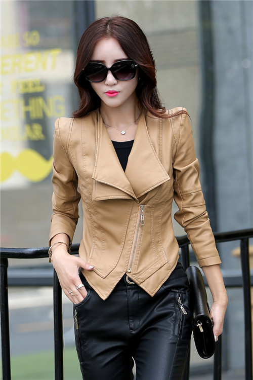 New 2015 Short Coat Style Leather Jacket Women Slim Biker Soft ...