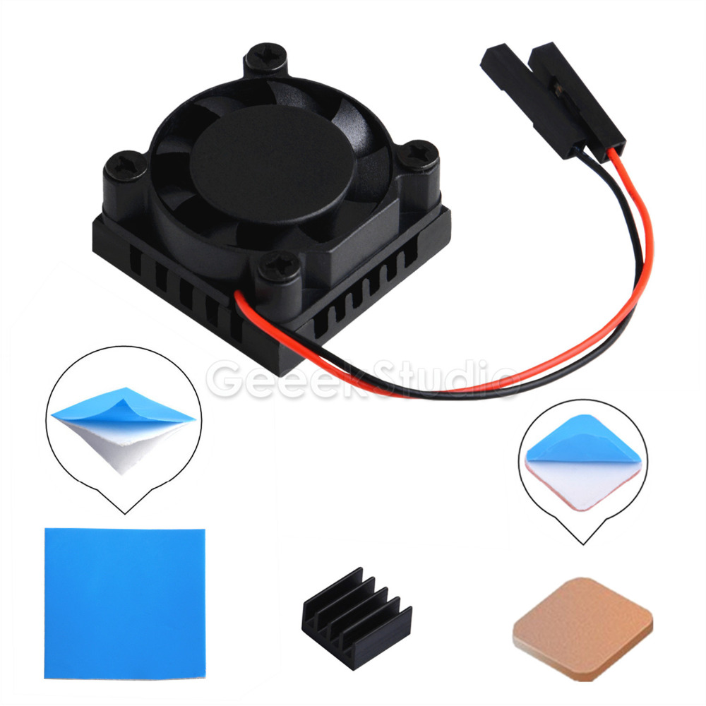 New In Stock! Square Cooling Fan 1/2 Dual Fan With Heatsink Cooler Kit For Raspberry Pi 3B+ (3B Plus) / 3 B / 2B/B+