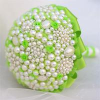 Newest arrived green pearl artificial wedding bouquets crystal bridemaid wedding bouquets for wedding decoration