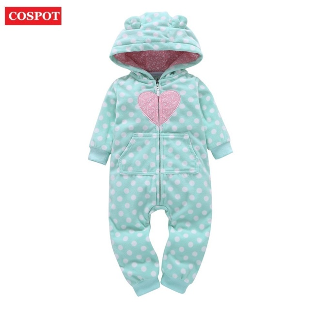 23302200e COSPOT 2019 Baby Hooded Jumpsuit Hooded Fleece White Dot Long-sleeved  Spring Romper Body Suits for Newborns Baby Girls Boys D28