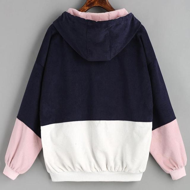 2018 Autumn Winter Coat color block Long Sleeve Corduroy Women jacket Patchwork Jacket  jeans jacket women plus size women coat 4