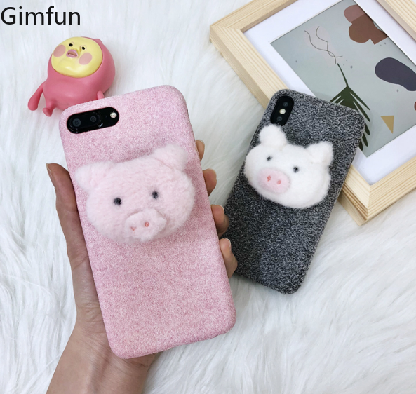 Gimfun Warm Cartoon Pig Plush Phone Case for Iphone Xs Max Cute Holder Stand Case for Iphone 7plus 6s 8 XR Soft Tpu Cover