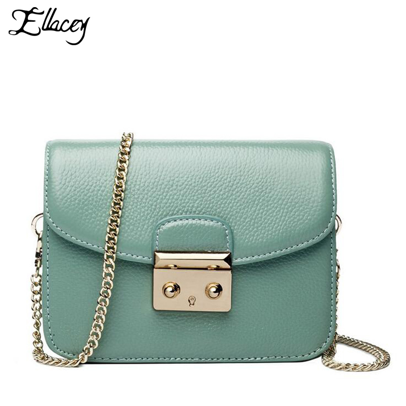 2018 New Brand Genuine Leather Women Messenger Bag 100% Real Leather Women Small Handbag Ladies Chain Shoulder Bag Crossbody Bag new women shoulder bag handbag 100