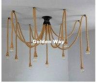 Free Shipping Vintage Rope Pendant Lamp Antique Classic Adjustable DIY Ceiling Spider Lamp Light Retro Edison Bulb Pendant Light
