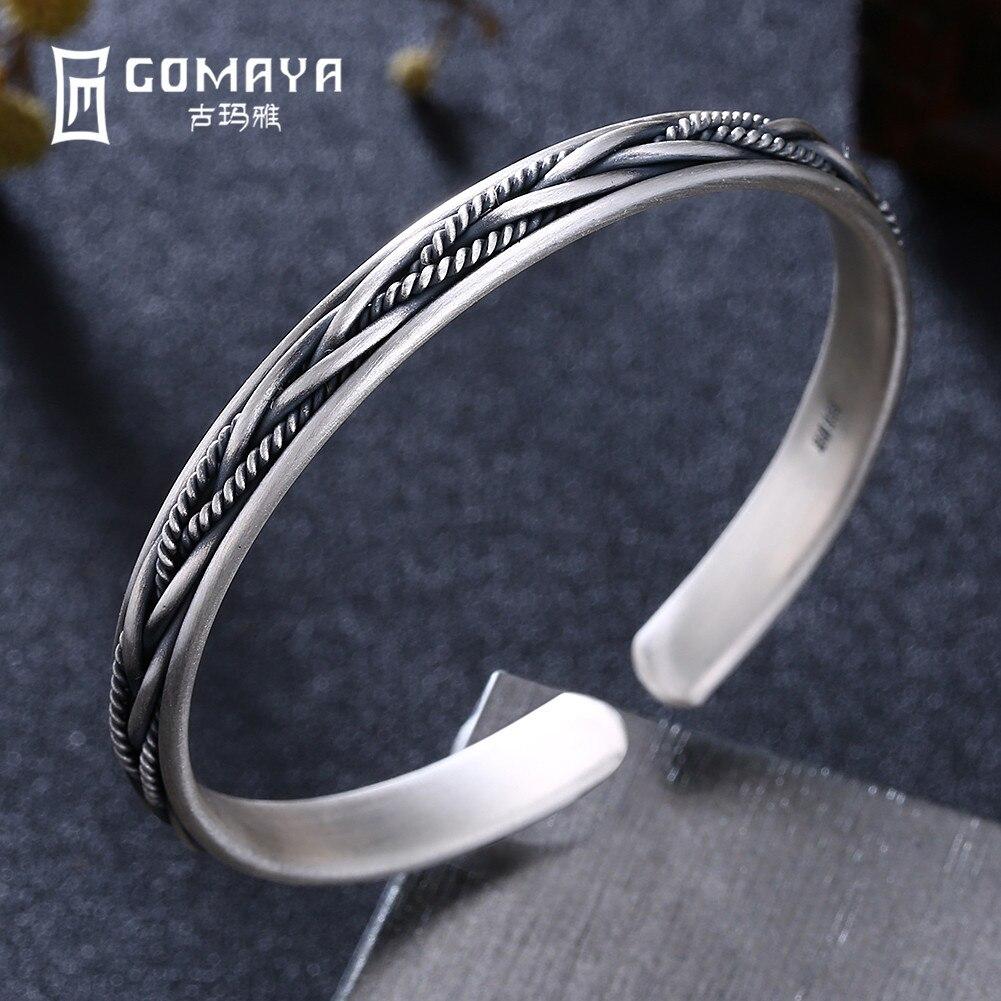GOMAYA 100 999 Sterling Silver Multi weaving Bangles for Women Fine Jewelry Charm Bracelets High Quality 2018 New Arrival in Bracelets Bangles from Jewelry Accessories