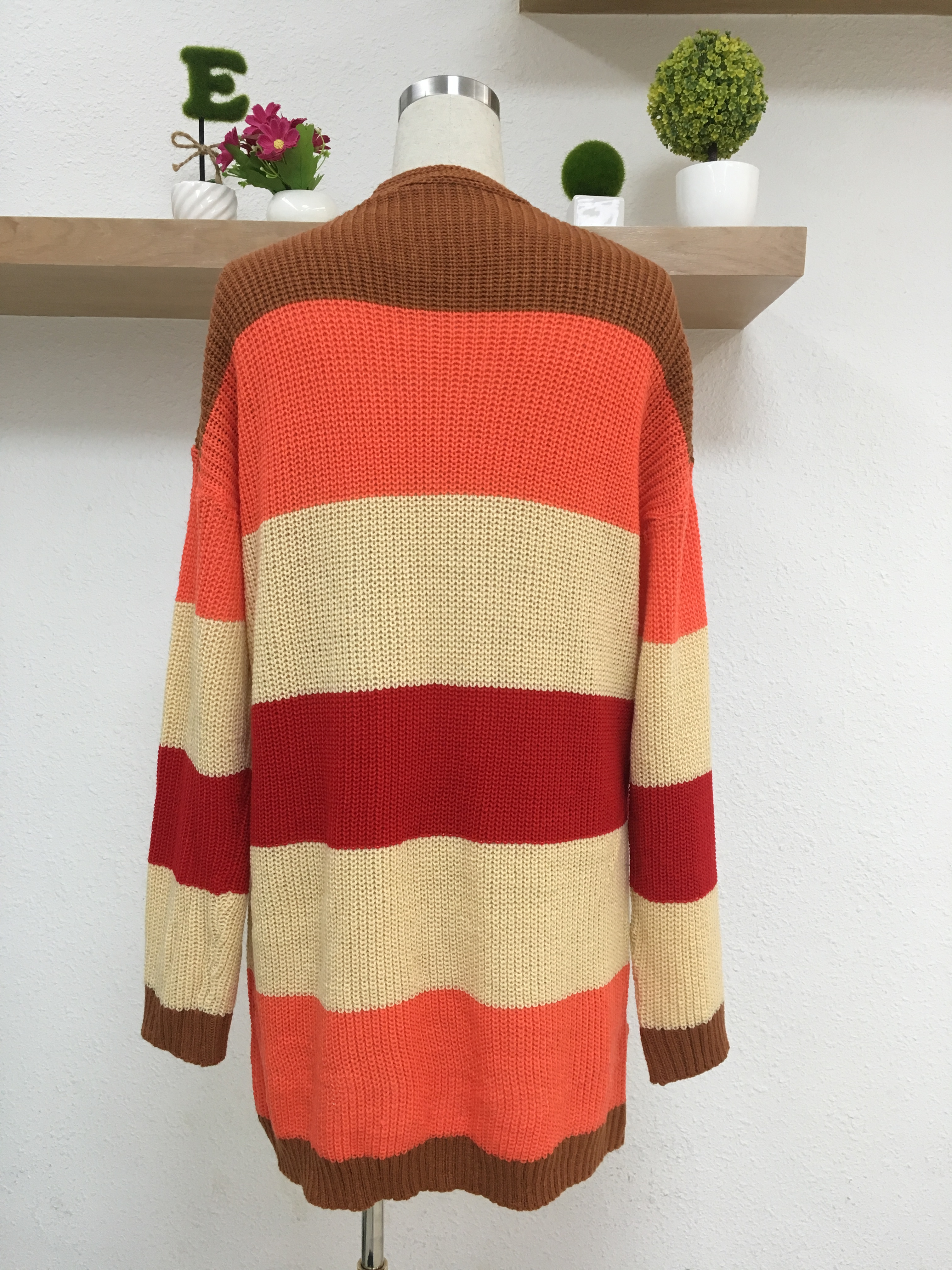 Women 39 s autumn winter 2018 new mid length knit cardigan OL commuter baggy striped rainbow sweater in Cardigans from Women 39 s Clothing