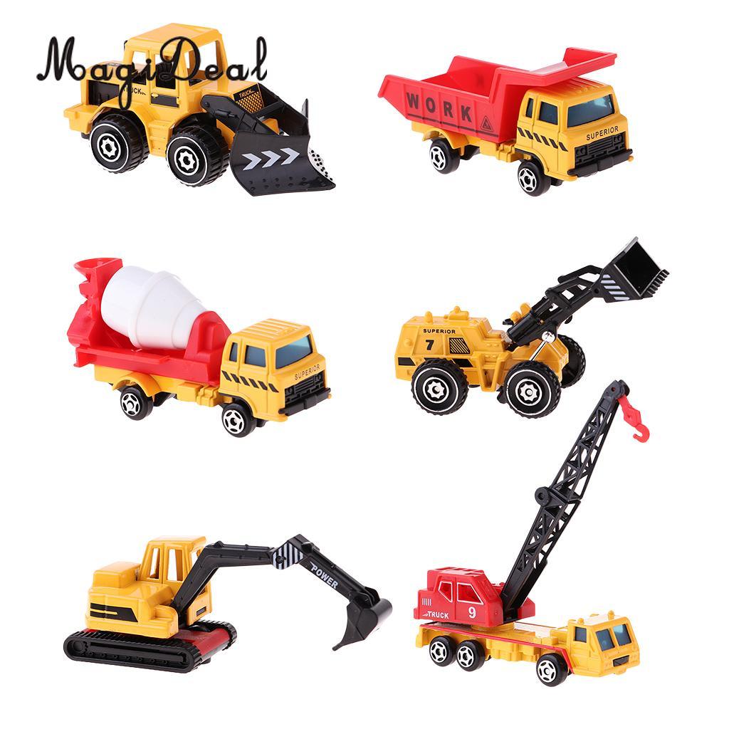 Mini Diecast Engineering Truck Car Free Wheel Kids Preschool Education Toy