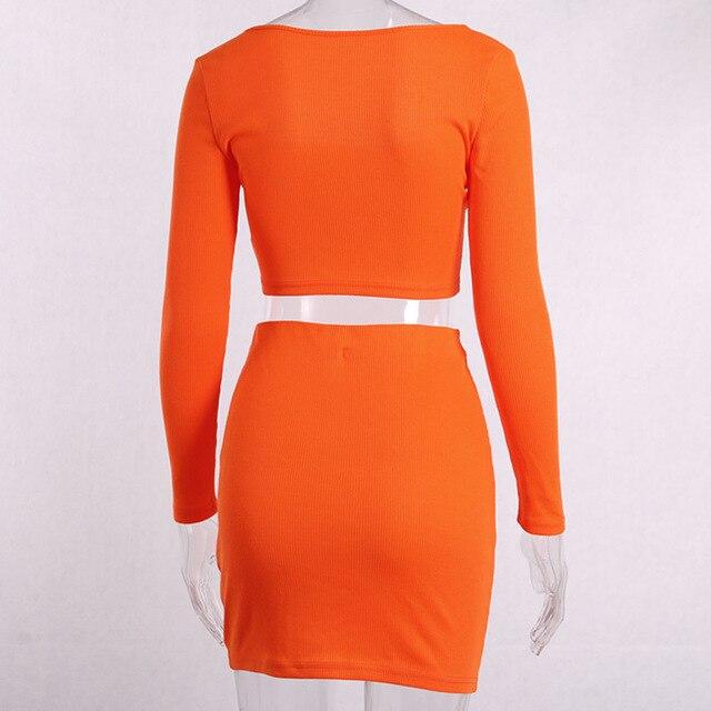 Bangniweigou Slash Neck Neon Orange Knit Crop Top Skirt Sets Women Party Casual 2 Piece Set Long Sleeve Tee & Tube Skirt 2019 5