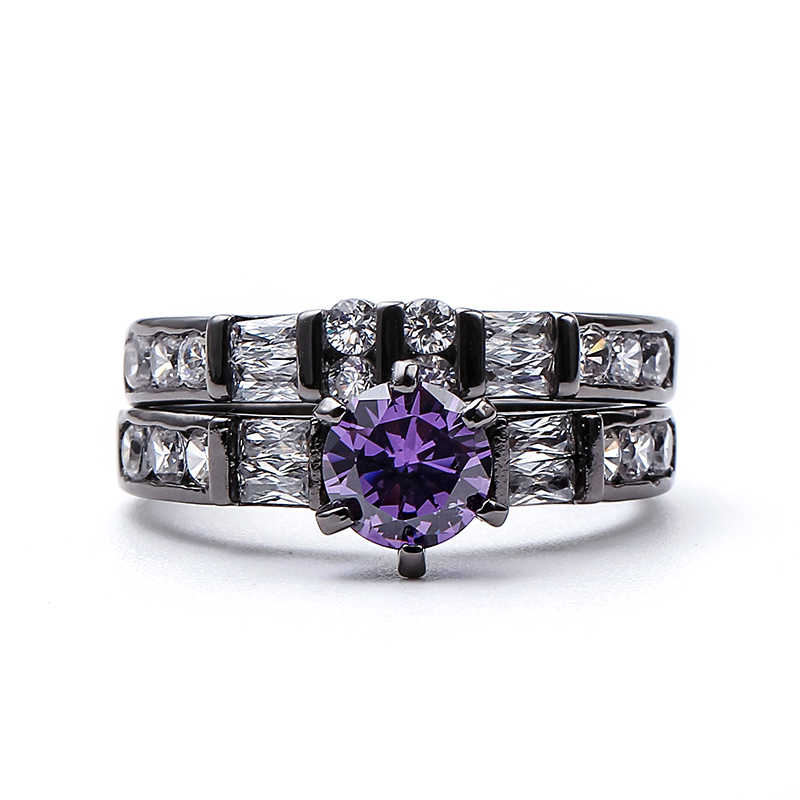 4 ชุดแหวนหินสีม่วงงานแต่งงานแหวน AAA Cubic Zirconia สีดำปืนหมั้นแหวนหญิง anel