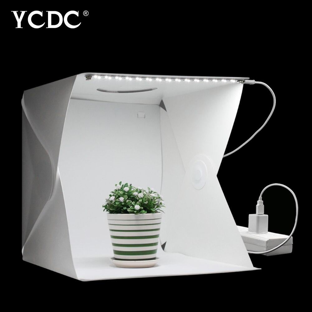 40 centímetros Portátil Dobrável Mesa de Luz Fotografia Softbox Estúdio Luz LED Kit para o Telefone Da Câmera DSLR Foto Caixa Macia Tenda Fundo
