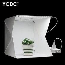 Caja de luz plegable portátil para estudio de fotografía, 40cm, caja de luz LED suave, Kit de tienda para teléfono DSLR, Fondo para foto de cámara