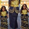 Африканский новый дизайн базен вышивка платья короткие рэппер с шарфом три шт один комплект