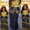African new design bazin embroidery dresses short rapper with scarf three pcs one set