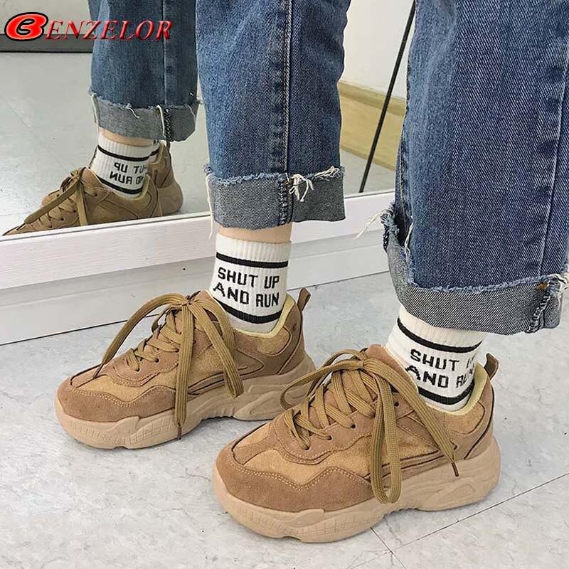 74092ec222e 2018 Damas Suela Coreano khaki Zapatillas Gruesa Plataforma Mujer Casual  Benzelor Moda Negro Otoño Estilo Zapatos ...