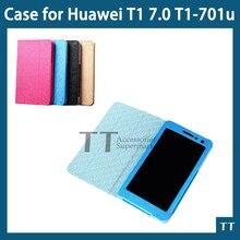 Soporte de la pu cubierta de cuero para huawei mediapad t1 701u tablet case for huawei t1 7.0 t1-701u case + protector de pantalla + touch pen