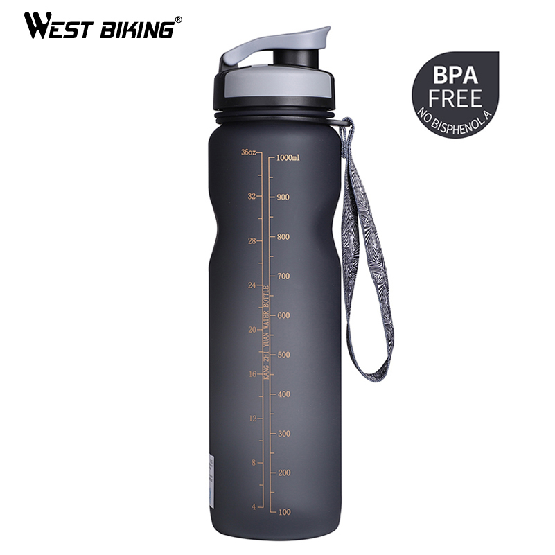 WEST BIKING 1000ML Bicycle Water Bottle Outdoor Drink Leak-proof Cup For Cycling Bike Outdoor Drink Sport Bottle 3 Colors outdoor stainless steel hip belt clip water drink bottle holder 12 piece