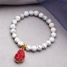 Druzy Charm Bracelet White Natural Howlite Turquoises Stone Beads Fashion Mala Yoga Meditation Jewelry