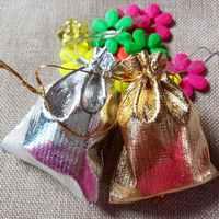 1000 stücke 7x9 cm Gold Silber Kordelzug verpackung Display Taschen Metallfolie organza beutel Weihnachten Hochzeit geschenk taschen
