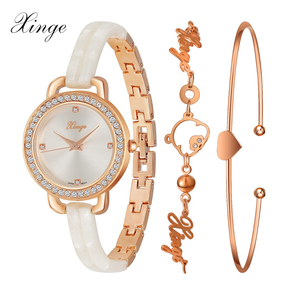 Xinge Brand Quartz Watch Women Crystal Pig Rose Gold Resin Bracelet Waterproof Wristwatch Set Luxury Women Girls Dress Watches xinge brand luxury crystal quartz watch women bracelet rhinestone jewelry watch set wristwatch waterproof women dress watches