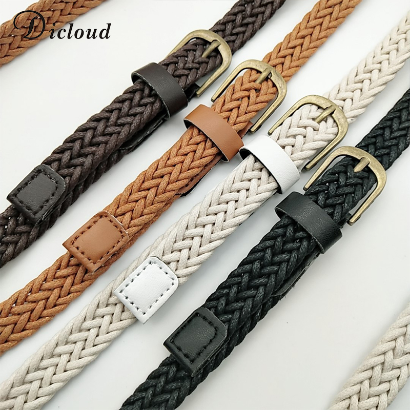 DICLOUD Vintage Woven Knitted Belts For Women Boho Beach Style Handwoven Fashion Belt White Black Faux Leather Belt